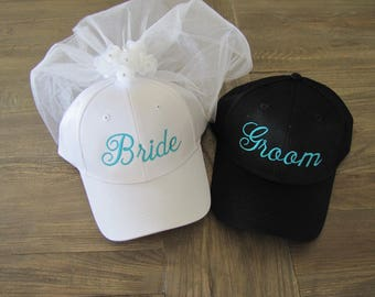 Bride and Groom Embroidered Baseball Caps with Veil