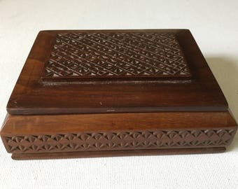 Hand Carved Wood Trinket Box Vintage Jewelry Box