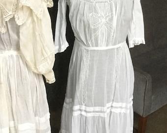 Victorian antique white summer dress tiered skirt