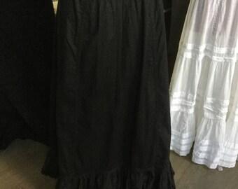 Victorian antique petticoat black cotton ruffle