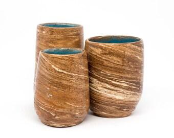 3 ceramic shot glasses. Handmade pottery shots set Three handmade shots Nericomi technique Shot glasses set Drink shots Gift for him