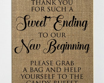 UNFRAMED Sweet Ending To Our New Beginning / Burlap Sign Print 5x7 8x10 / Rustic Wedding Party Sweets Candy Bar Wedding Decor Sign Birthday