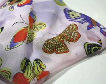 Women's scarf - Unique handmade scarves - Romantic gift - Butterflies - Luxury scarves - Fashion silk scarves -  Natural silk scarf