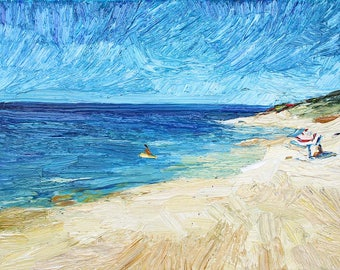 Original seascape oil painting on stretched canvas, beach scene, textured painting, aminovart