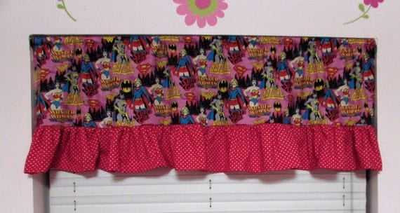 Superhero curtains,superhero valance,superhero room decor,super girl valance,girls room,girls superhero,superhero room,wonder woman