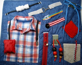 Masculine Plaid Shirt on Fidget, Sensory, Activity Quilt Blanket