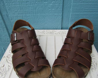 Birkenstock ~Phoenix~Papillio ~Fisherman Style Sandal  Cork Footbed~  Brown Size 42 N/M ~ Vintage Style Excellent Condition