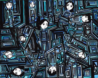 Original Drawing- Blue Geometric People