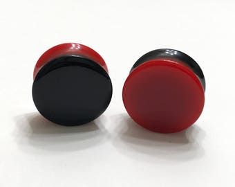 26mm Reversible Black and Red Plugs - Double Flared - Plugs - Gauges - Stretched Ears