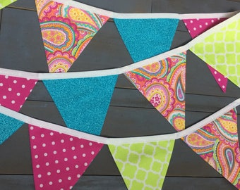 Teal, Pink  Lime Green Fabric Bunting Pennant Banner for First Birthday Party Decorations, Girls Room, Party or Photo Prop