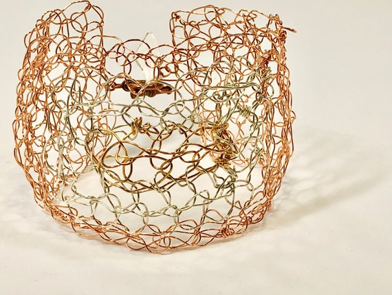 Handmade tri-color wire Crochet cuff bracelet with copper, silver plated and gold plated wire.