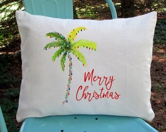 Christmas Pillow, Beach Christmas Pillow, Christmas Decor, Tropical Christmas Pillow, Palm Tree Christmas, Florida Christmas Tree, Christmas