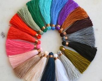 Tassels, Long Tassels, Bronze Binding, Tassels for Jewelry, Tassel Necklace, Tassel Earrings, Mala Tassels, Mala Making, Pack of 6, ST161216