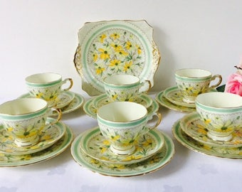 Tuscan Yellow & Green Floral Tea Set, Hand Painted, Staffordshire, 18 Pieces.