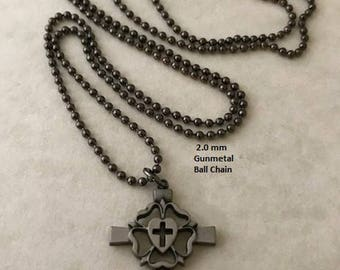 Pewter Luther Seal Rose Cross Pendant NECKLACE - Confirmation - Reformation - Lutheran Religion