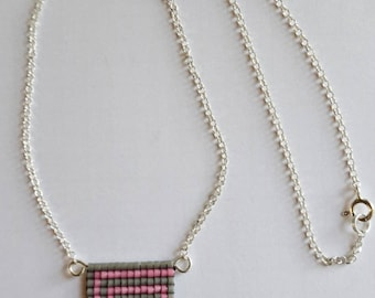 """Necklace pendant """"Labyrinth"""" gray and pink, solid 925 sterling silver and seed beads"""