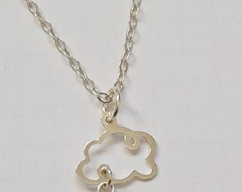 "Pendant necklace ""Cloud"" entirely made of solid 925 sterling silver with raindrop in Pearl gray SWAROVSKI"