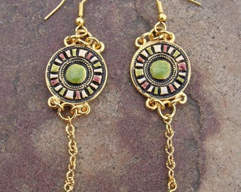 GALILEI, unique handmade hand coloured earrings Bohemian bijoux traditional medieval vikings