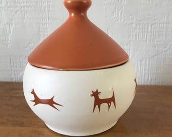 Ceramic Mid Century Upjohn Unipet Treat Jar Dog Cat Mod Vintage