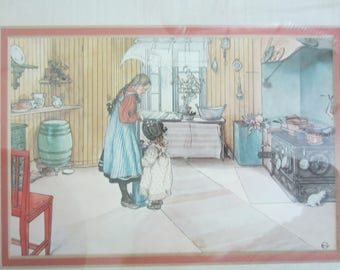 "Carl Larson Print Vintage Matted Framed/ Swedish Art/ Collectible/ ""The Kitchen"" Print/ Vintage Decor/ Farmhouse Kitchen/ Vintage Kitchen"