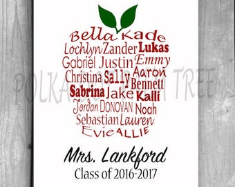 Customized DIY Printable Student Name Apple Daycare Preschool Classroom Teacher Gift End Of The Year Gift Personalized Teacher Gift