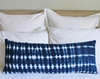 Extra Long Lumbar Pillow Cover //  Indigo Shibori Cotton Pillow Cover