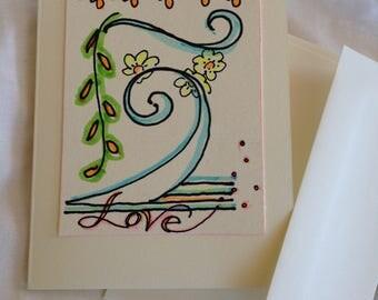 Greeting Card - Neon Wave Love #2 - Original Art - Neon Markers - Valentine - Blank Inside