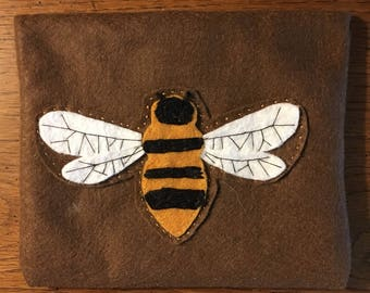 Flying Bee  Yellow Brown Felt Embroidered Pouch