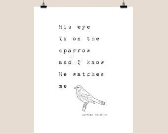 His eye is on the sparrow - digital print - printable file - inspirational - christian art - digital download - typography - faith