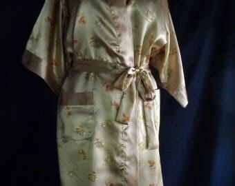 Vintage kimono robe gold satin small
