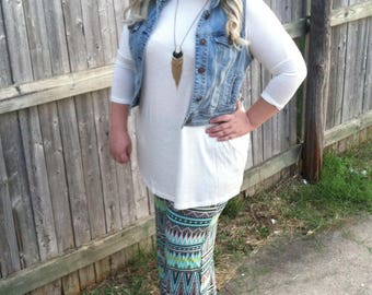 Turquoise and Green Tribal Palazzo Pants