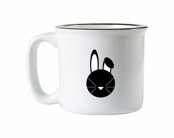 Ceramic Camping Mug, Bunny Campfire Mug, Bunny Mug, Christmas Mug, Christmas Bunny Mug