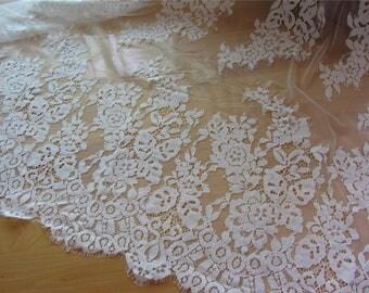 """ivory white 59"""" eyelash Chantilly ,pure white Lace Fabric  Wedding Gowns, Bridal Veils, ivory Mantilla, Costumes-LSM3C001"""