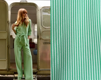 M/L 1970s Green and White Striped Zip up Wide Leg Jumpsuit