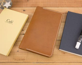 Cafe Note Cover, Leather Cover, Journal Cover, Shinsho Size, Commuter, Writer, Slim B6, Tomoe River Paper, Nanami Paper, Horween, Tan