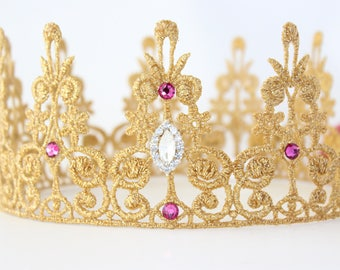 Quinn Gold Rhinesone Crown - Lace Crown + Swarvoski Crystals - Full Size - Toddler to Adult - Fuchsia Pink + Clear Bling - Photography Prop