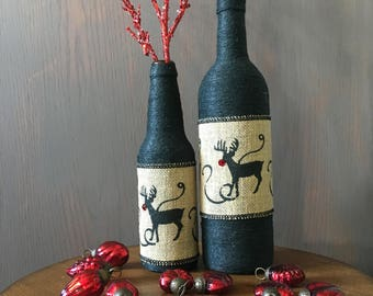 Rudolph Motif - Twine-wrapped Two-Piece Bottle Set with Burlap Ribbon and Red Glittered Branches