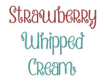 Strawberry Whipped cream font Embroidery Fonts 3 size Instant Download 8 Formats Embroidery Pattern Machine Embroidery design PES