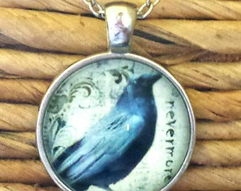 Raven Necklace Edgar Allen Poe Nevermore Raven Art Glass Pendant Classic Poe Literature Novelist Writer Quoth the Raven Nevermore Jewelry