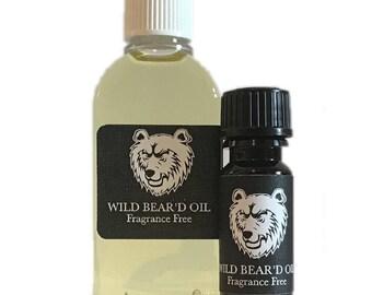 Fragrance Free Beard & Moustache Oil 10ml 50ml, Natural Grooming Balm Hair Gift