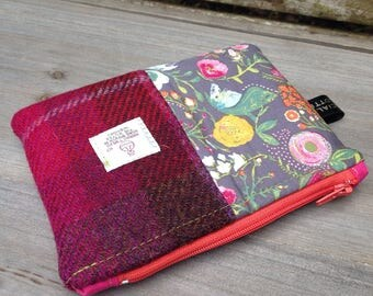 Cerise Harris tweed and floral zip up storage bag pouch