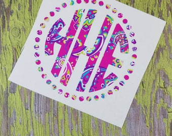 Car Decal;  Yeti Decal; Vinyl Decal; Monogram Decal; Pink Paisley with Dots