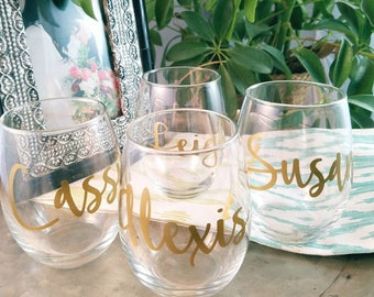 Personalized Stemless Wine Glasses; Wedding Party Wine Glasses (2-4 Glasses)
