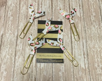 Pink Gold Leopard Ribbon Bookmarks, life planner, gold planner, pink gold ribbon, wedding invitation clip, wedding planner, party favor gift