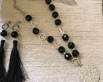 Long Necklace and Tassel Earring set