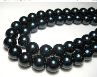 50% OFF Clearance Sale-- 20pcs Dark Montana Blue Glass Pearl Beads 10mm Round