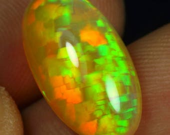 Big Bright Unusual Welo Opal Honeycomb Rare Harlequin Blocks Puzzle Juicy Citrus Colors 5cts 18x10x6.5mm VIDEO