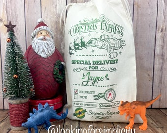 "Personalized Serenity Firefly  Santa Sacks or Reusable Gift Bags - 10""x15"", 8""x10"" or 5""x7""  Smaller Sized"