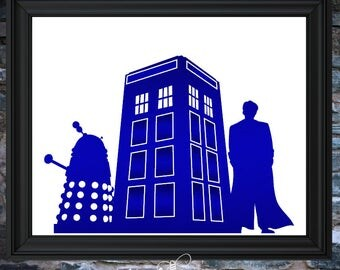 "New 8""x10"" Foil Art!  Dr. Who w/ TARDIS and Dalek"