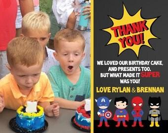 Super Heros Birthday Thank you cards - Superman, Batman, Hulk, Captain America (DIGITAL COPY)